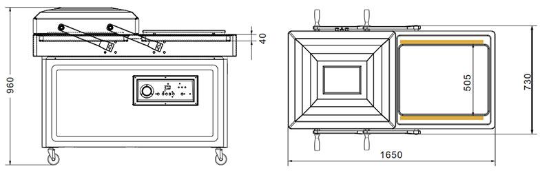 Sellador de vacío de doble cámara o empaquetador DZ-700 - 2SA-3
